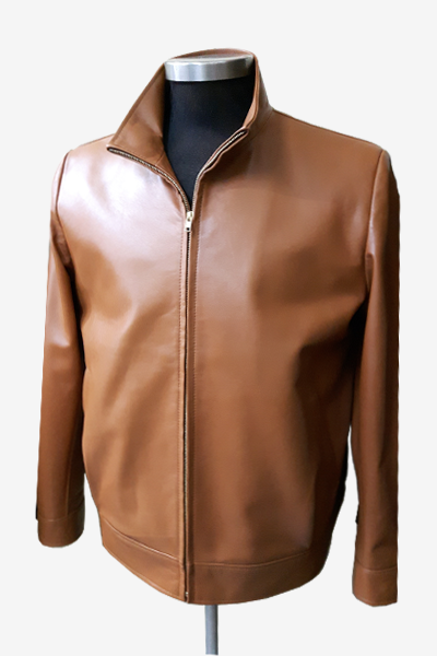 Brown Leather Blouson Jacket