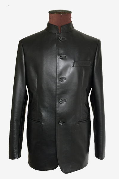 Black Blazer Jacket with Mandarin Collar