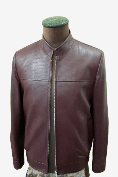 Burgundy Punched Leather Blouson Jacket
