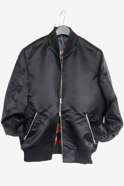 Black Brocade Bomber Jacket