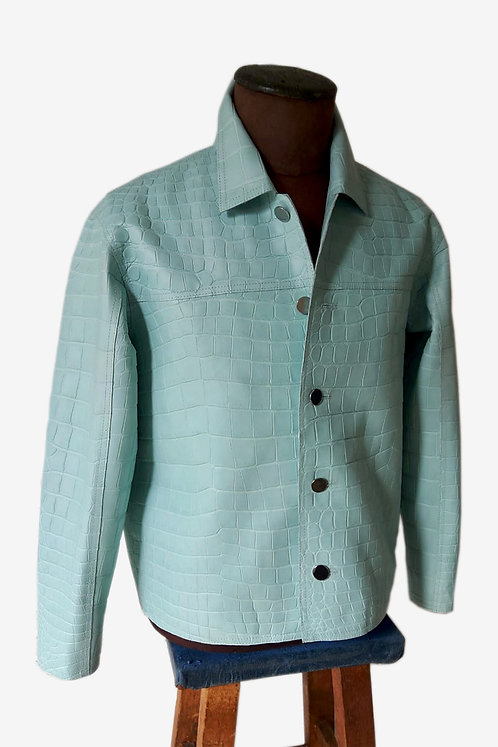 Bespoke Mint Green Genuine Mint Green Crocodile Leather Jacket