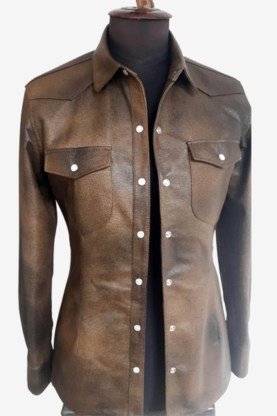 Brown Milled Leather Shirt Jacket