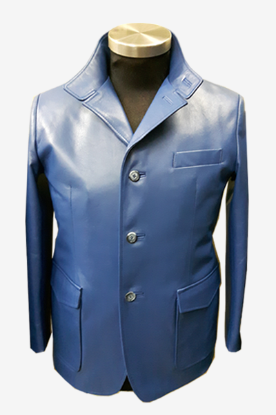 Blue Leather Blazer