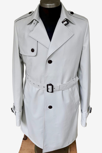 White Single Three-Buttoned Trench Coat