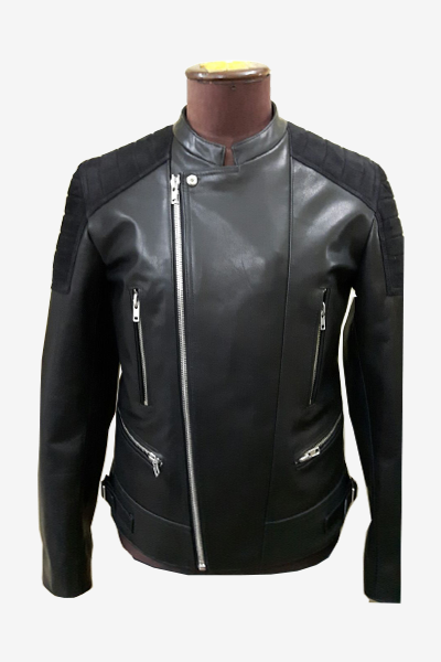 Black Asymmetric Zip Biker Leather Jacket
