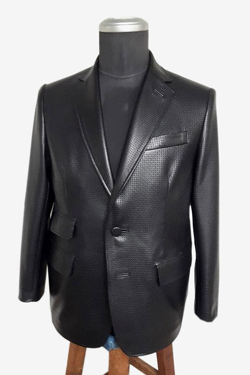 Bespoke Black Fancy Leather Blazer Jacket