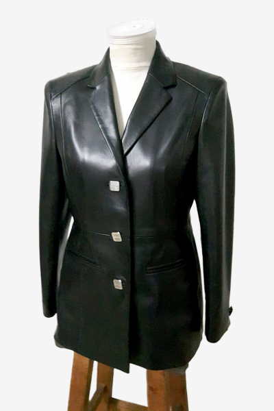 Bespoke Black Lambskin Leather Blazer