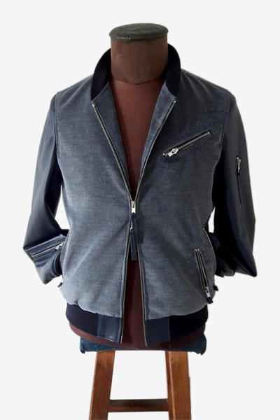 Bomber Jacket Mixed with Corduroy and Leather Sleeves