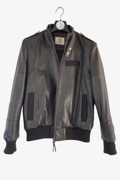 Bespoke Men's Grey Lambskin Racer Leather Jacket