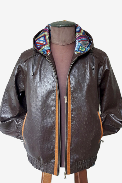 Dark Brown Ostrich Leather Aviator Jacket with Crocodile Leather Edges