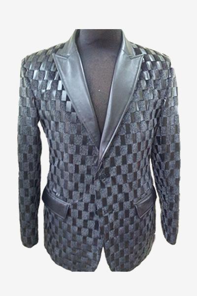Black Checked Leather Blazer