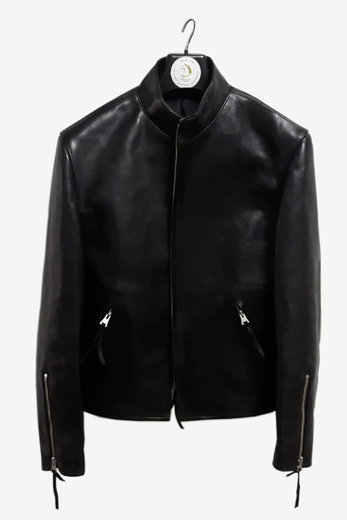 Bespoke Black Horsehide Leather Bomber Jacket