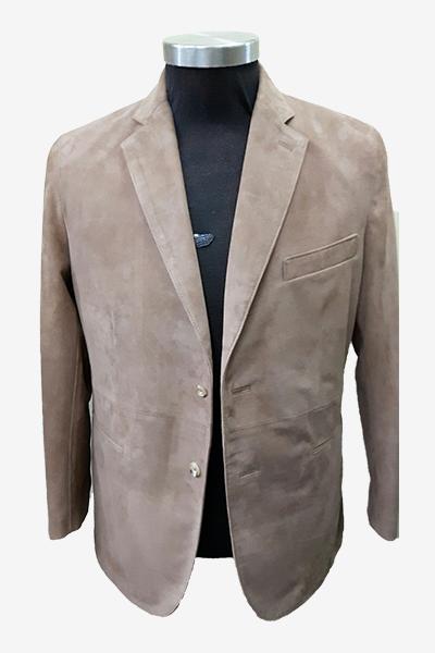 Khaki Suede Leather Blazer