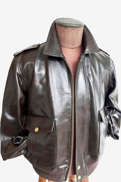 Dark Brown Leather Aviator Jacket