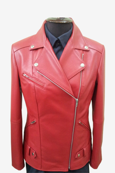 Red Double Rider Biker Leather Jacket