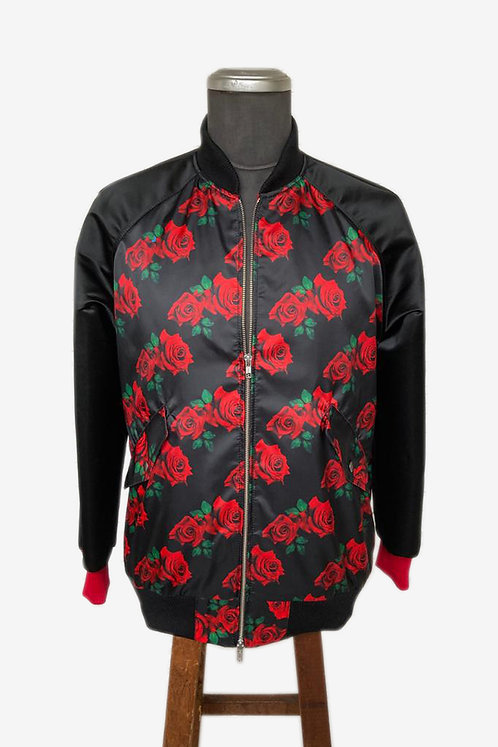 Bespoke Brocade and Italian Cotton Crossover Bomber Jacket