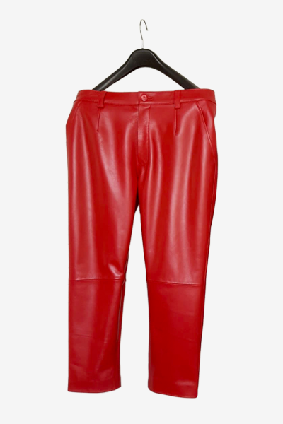 Red Lambskin Leather Pants
