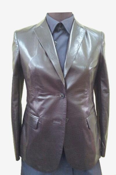 Burgundy Python-Printed Leather Jacket