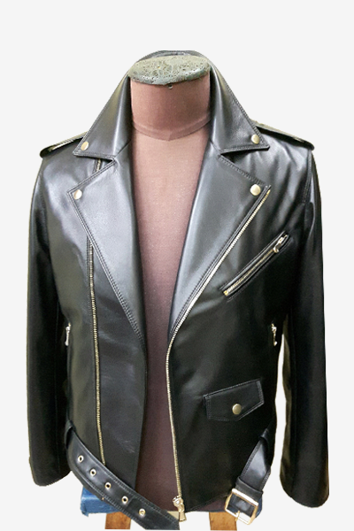 Black Leather Biker Jacket with Fasteners and Belt