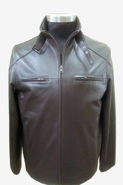 Brown Leather Racer Jacket