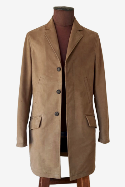 Camel-Colored Nubuck Trench Coat