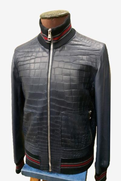 Blue Crocodile Leather Bomber Jacket