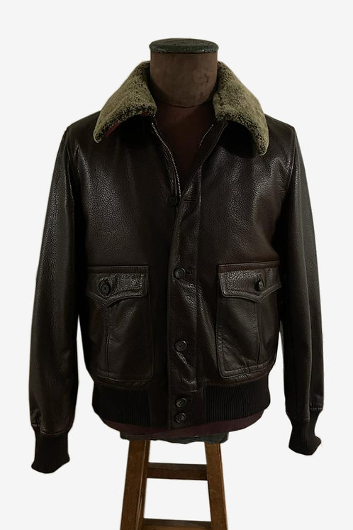 Bespoke Spanish Brown Leather Jacket with Detachable Collar