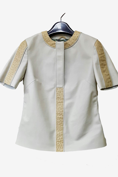 Beige Ostrich and White Lambskin Shirt