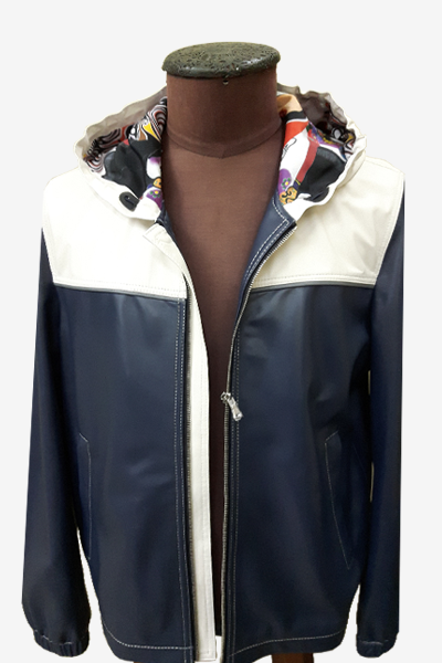 Black and White Leather Blouson Jacket with Special Lining