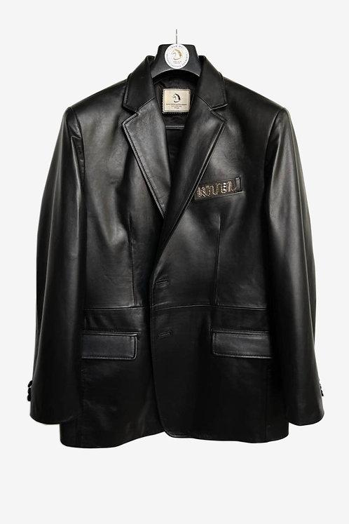 Bespoke Black Lambskin Leather Blazer