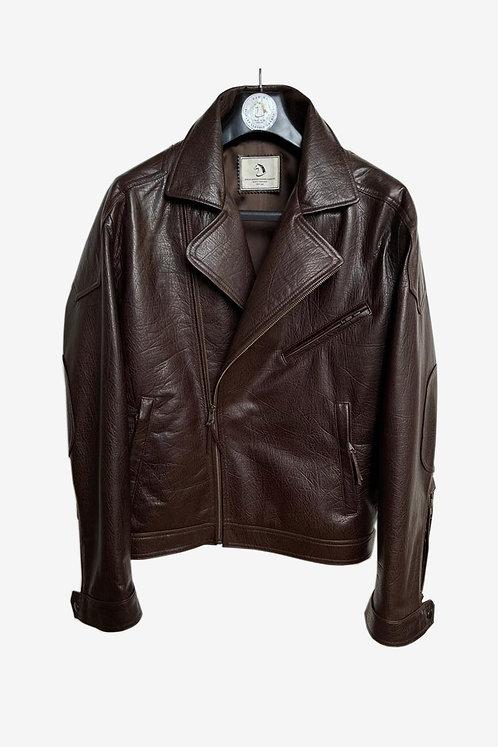 Bespoke Brown Burst Crack Leather Biker Jacket
