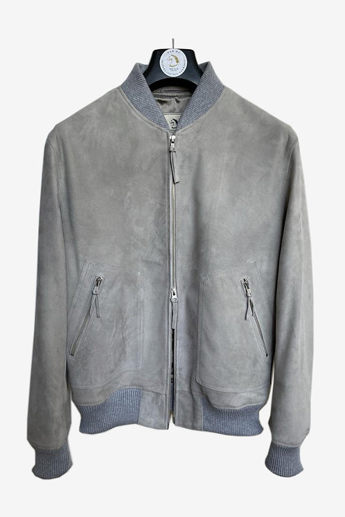 Bespoke Men's Grey Suede Bomber Leather Jacket