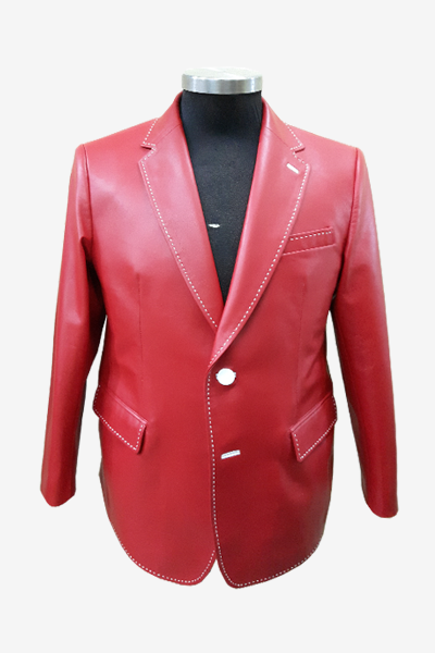 Red Leather Blazer with Hand Stitched Front