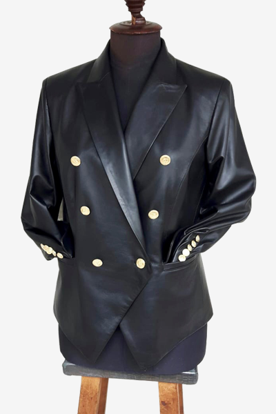 Black Lambskin Leather Blazer with Gold Buttons