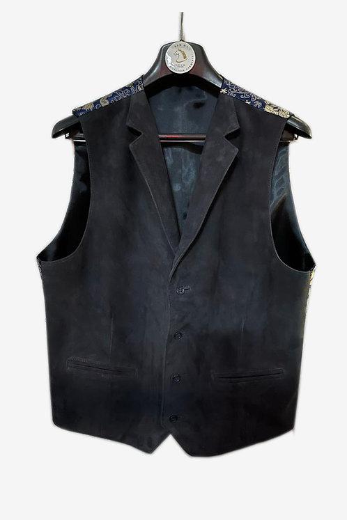 Bespoke Men's Suede Leather Vest with Brocade