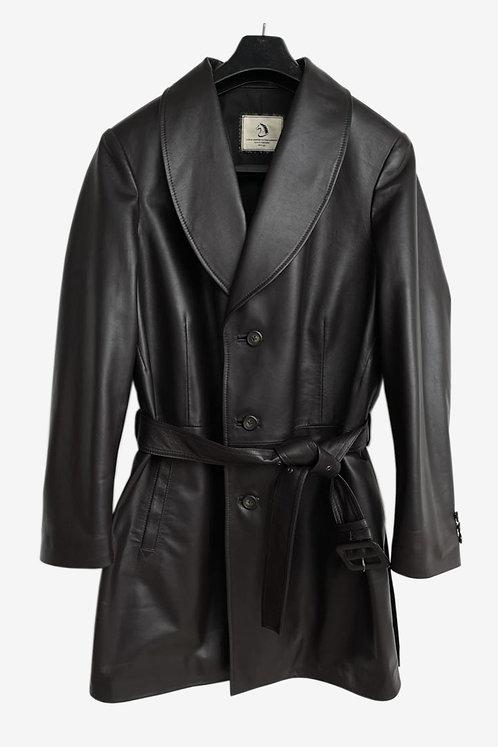 Bespoke Black Lambskin Leather Half Coat