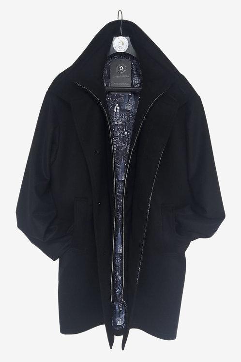 Bespoke Black Italian Cashmere Wool Half Coat