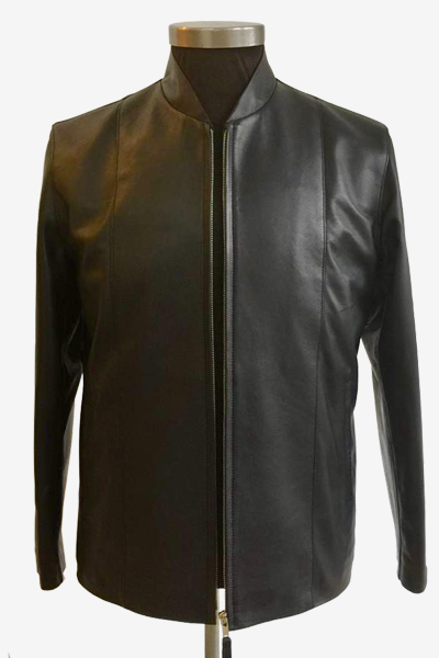 Black Lambskin Jacket with Mandarin Collar
