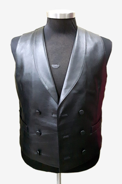 Black Buttoned Leather Vest