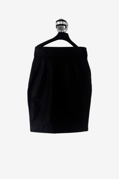 Black Lambskin Leather Skirt