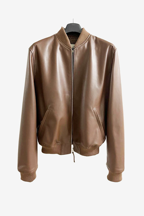 Bespoke Brown Lambskin Leather Bomber Jacket