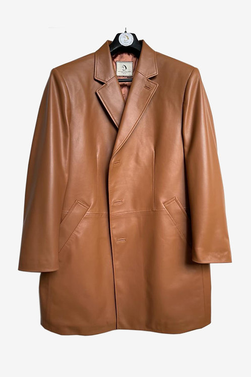 Bespoke Caramel Leather Blazer Jacket