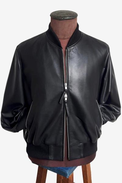 Black Lambskin Bomber Jacket
