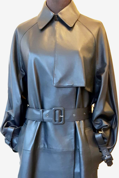 Navy Lambskin Leather Trench Coat