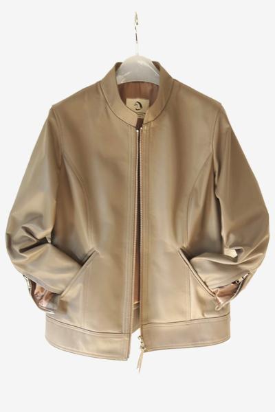 Bespoke Khaki Lambskin Leather Jacket