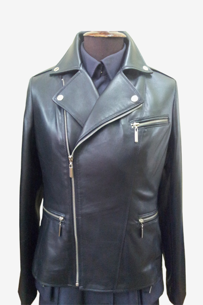 Black Asymmetric Zip Biker Leather Jacket with Fasteners
