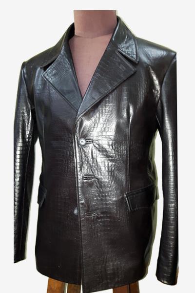 Black Crocodile Pattern Leather Blazer