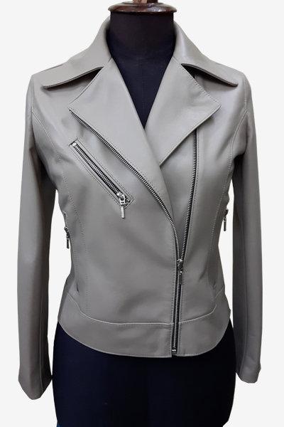 Grey Double Rider Biker Leather Jacket