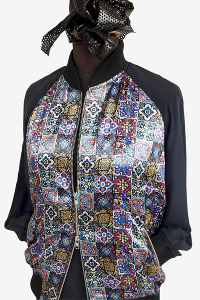 Bomber Jacket with Mixed Tile Patterns