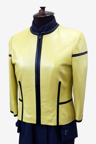 Yellow Leather Blouson Jacket